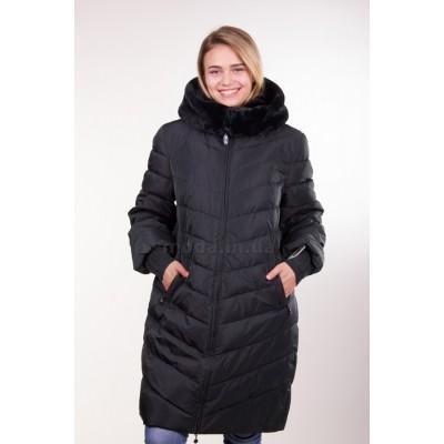 Пальто женское Daser TH16-109 темно-зеленое с мехом