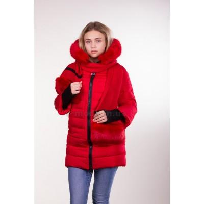 Куртка зимняя женская Lora Duvetti 6065 красная с мехом