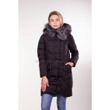 Пуховик женский Peercat 9-01 черный с чернобуркой