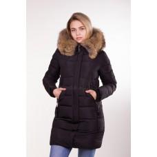Куртка зимняя женская с мехом Lora Duvetti 6012 черная