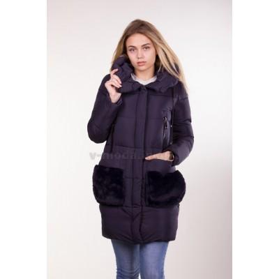 Куртка зимняя женская Lora Duvetti 6049 темно-синяя