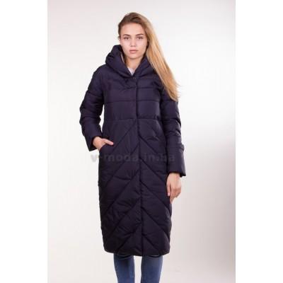 Пуховик пальто зимний женский  Lora Duvetti 6078 темно-синий