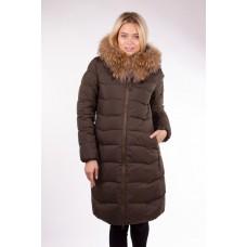 Пальто женское с мехом Clasna CW17D-031 хаки
