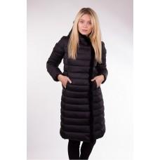 Пальто женское с опушкой Clasna CW17D-041 чёрное