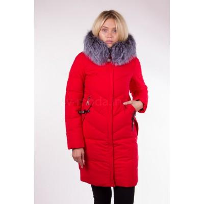 Пальто женское  с чернобуркой Fulanxin 17081 красное