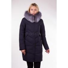 Пальто женское  с чернобуркой Fulanxin 17081 синее