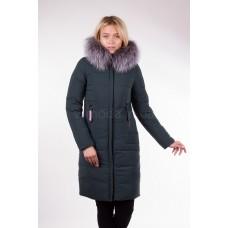 Пальто женское  с чернобуркой Fulanxin 17808 изумрудное