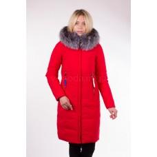 Пальто женское  с чернобуркой Fulanxin 17808 красное