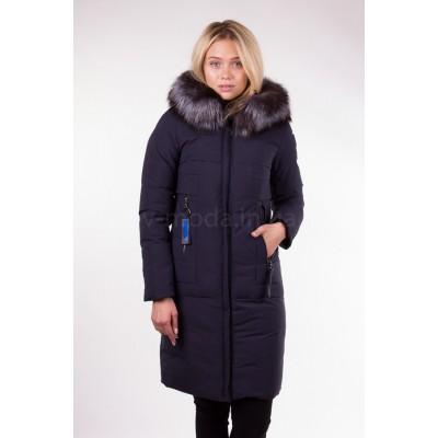 Пальто женское  с чернобуркой Fulanxin 17808 синее