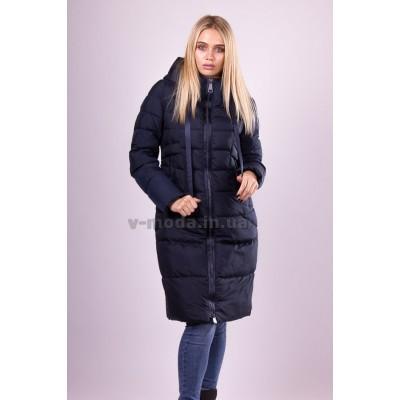 Пальто пуховик женский  Clasna CW18D-726 темно-синий