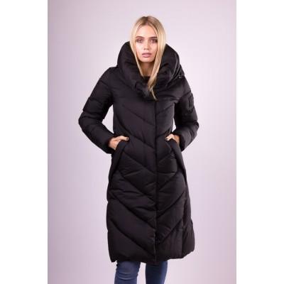 Пальто пуховик женский  Clasna CW19D-536 черный