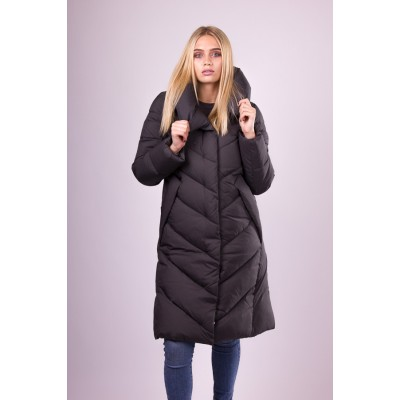 Пальто пуховик женский  Clasna CW19D-536 серо-зеленый