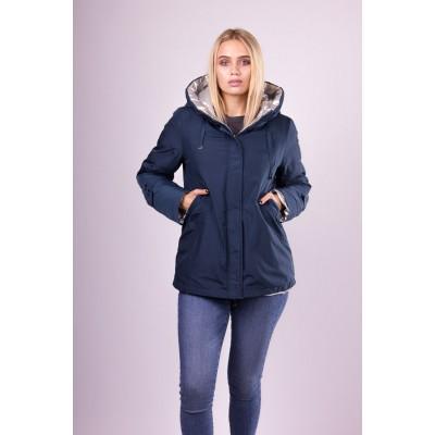 Куртка зимняя женская Lora Duvetti 18220  двусторонняя синяя с серебром.