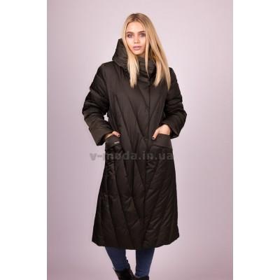 Пальто пуховик женский  Plist PT2018 темно-зеленое