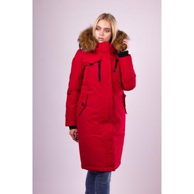 Пальто пуховик женский  San Crony EW-779 красный с мехом енота