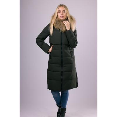 Пальто пуховик женский  San Crony FW-754 хаки с мехом енота