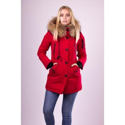 Пальто пуховик женский  San Crony GW-562 красный с мехом енота