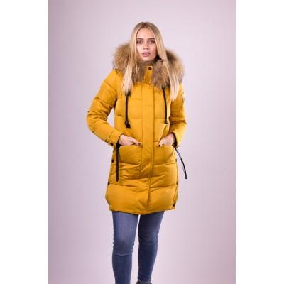 Пальто пуховик женский  San Crony GW-563 желтый с мехом енота