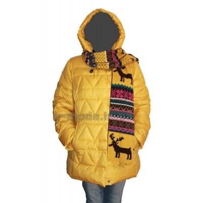 Куртка женская пуховая CLASNA 14D-389 желтая