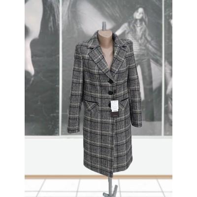 Пальто шерстяное демисезонное ELVI Д-826  в  клетку до колен