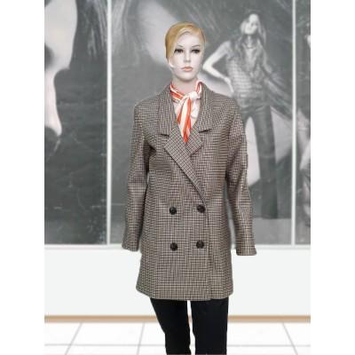 Пальто-пиджак шерстяное демисезонное ELVI Д-907  в мелкую клетку