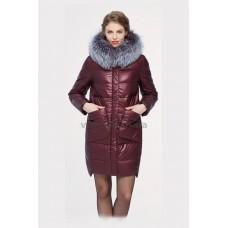 Куртка зимняя женская Lora Duvetti 18168 бордо экокожа