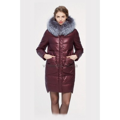Куртка зимняя женская Lora Duvetti 18168 эко-кожа бордовая