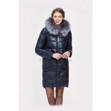 Куртка зимняя женская Lora Duvetti 18168 синяя экокожа