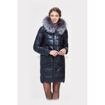 Куртка зимняя женская Lora Duvetti 18168 эко-кожа синяя