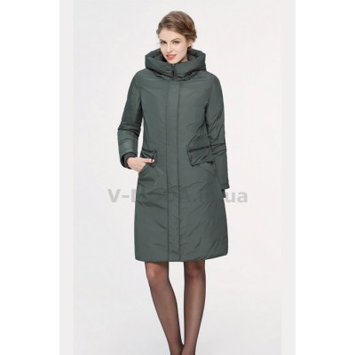 Пальто женское Lora Duvetti 18713  зеленое.