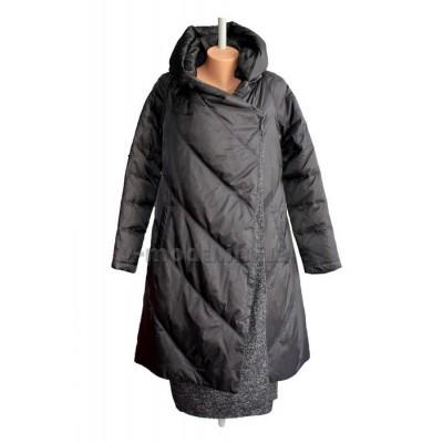 Пальто эксклюзивное женское Sara Leona 7019 черное
